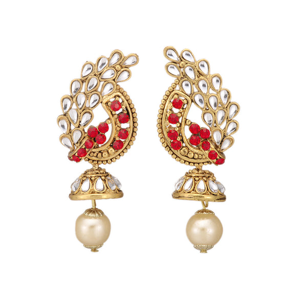 Kundan Inspired Red Stone Studded Dangle & Drop Earring