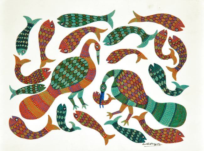 'Crane catches Fish' Gond Aboriginal Painting