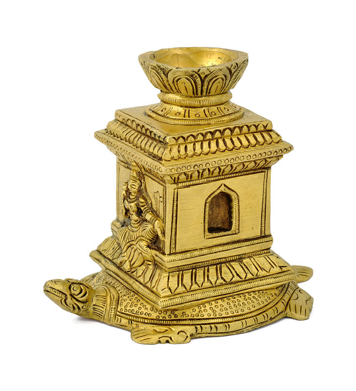 Brass Tortoise Stand with Lakshmi Carving