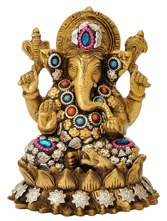 Ganesha Seated on Lotus Flower