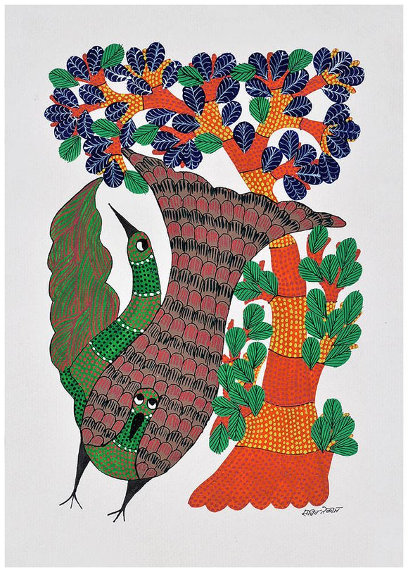 Cheerful Birds Gond Painting