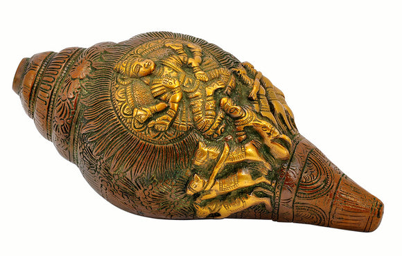 Lord Surya Engraved Brass Conch