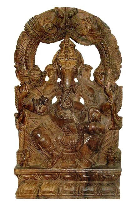 Ganesha The Son of Lord Shiva - Wood Statuette