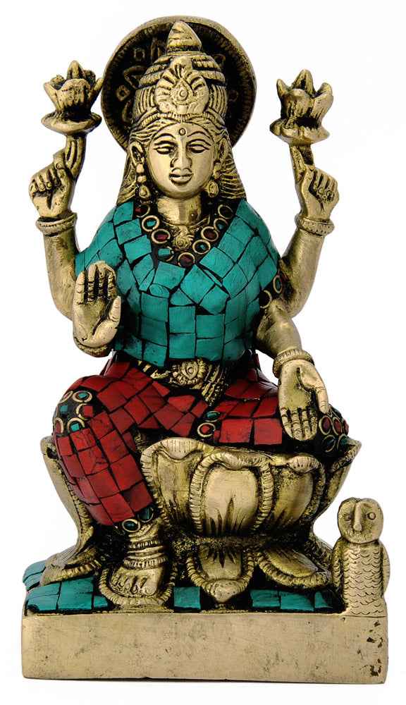 Goddess of Prosperity Laxmi Brass Sculpture 4747