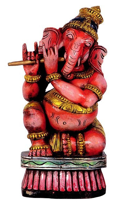 Ganesha as Flute Player - Wood Statuette