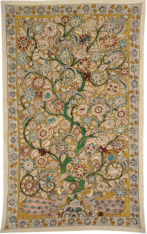 "Cotton Kalamkari Painting ""Tree of Life with Peacocks"" 4790"