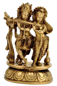 Beautiful Radha Krishna The Loving Couple  Brass Sculpture