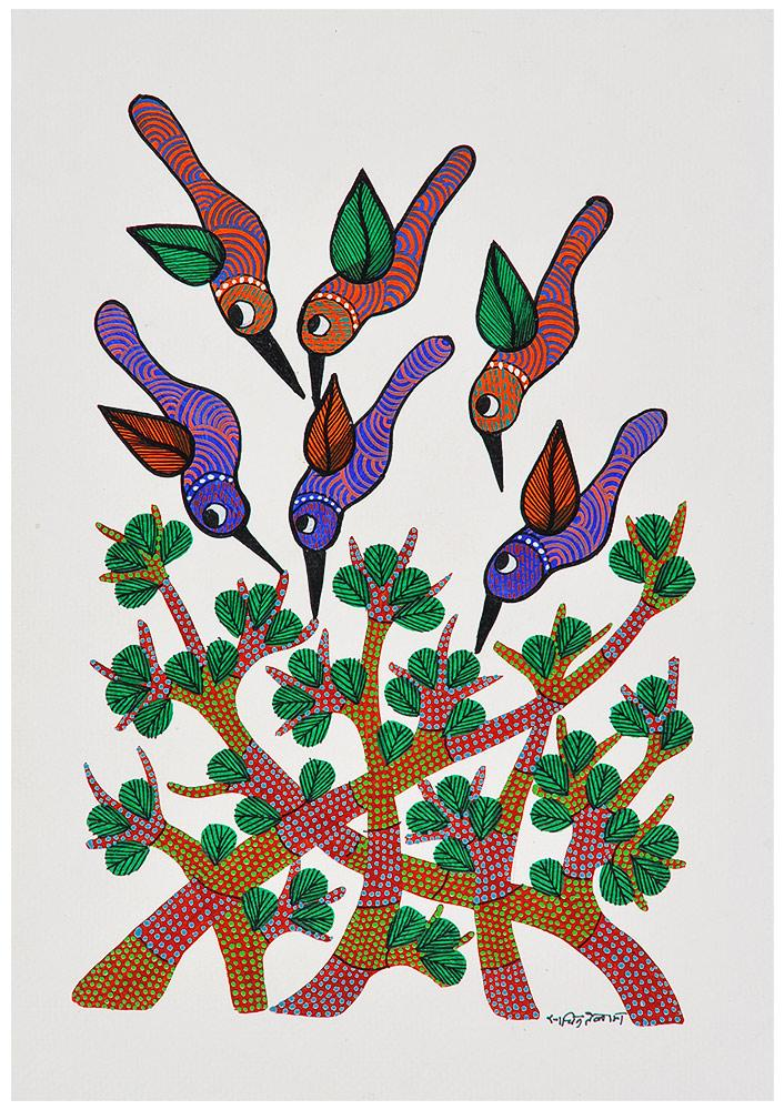 Chirpping Birds Gond Painting