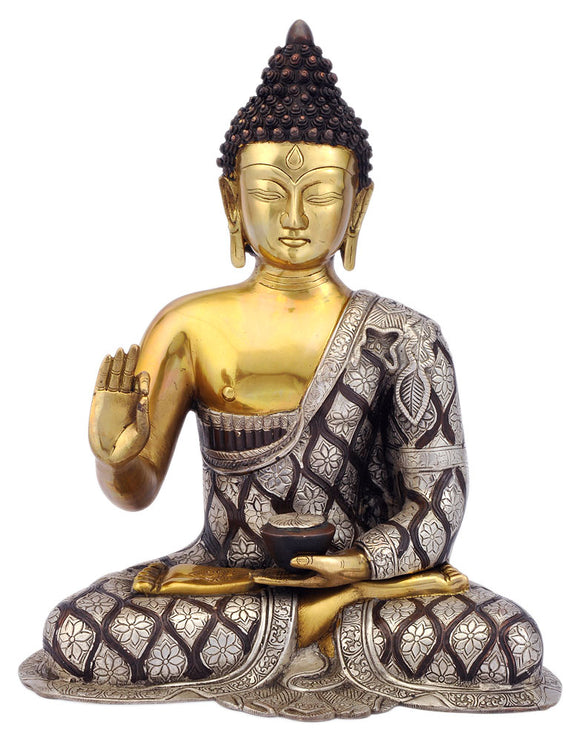 God Medicine Buddha Carved Brass Statue