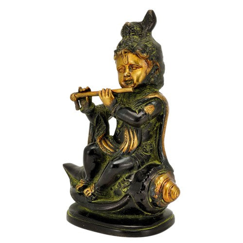 Black Finish Bala Krishna Playing Flute Brass Statue
