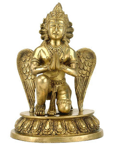 Lord Vishnu Carrier Garuda Brass Sculpture 3412