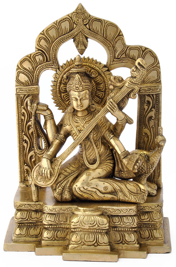 Goddess Saraswati with Veena - Brass Statue 4804