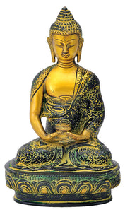 Antiquated Buddha Brass Figure