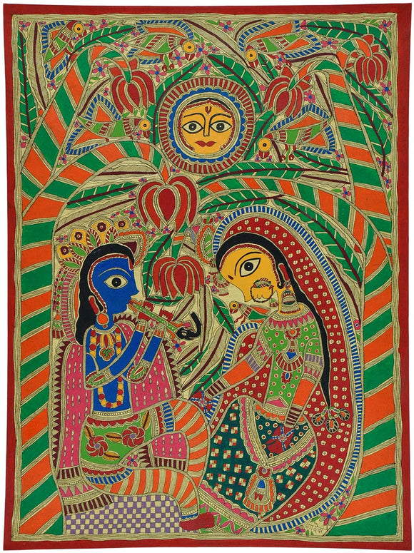 Traditional Mithila Painting of Radha Krishna 2388