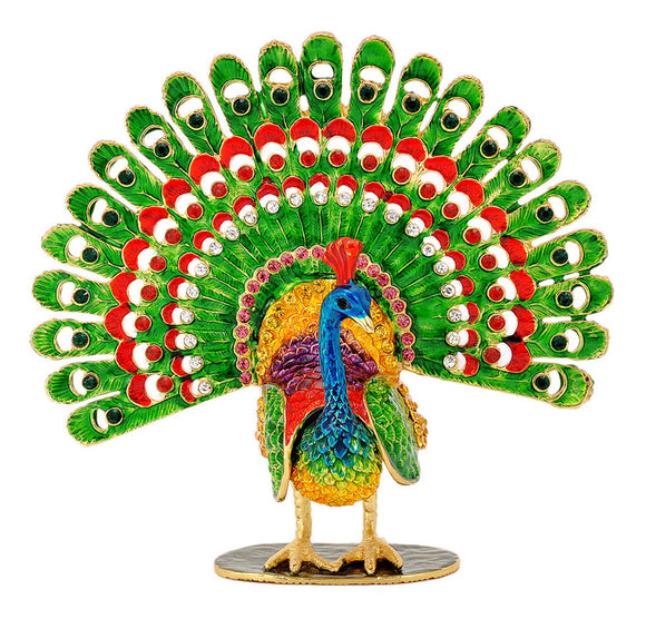 Good Luck Wing Spread Peacock Statue for Home