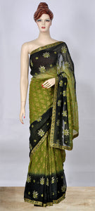 Olive Green Color Saree with Sequins and Thread Work