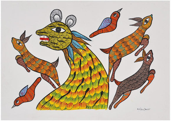 Hunting Lion - Gond Tribal Painting