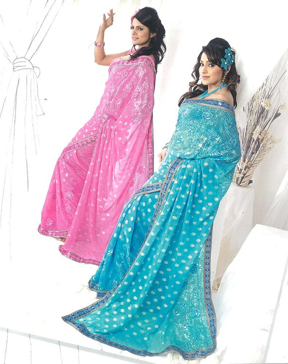 Beautiful Sea Green Georgette Sari with Embroidery, Boorty & Sequins Work