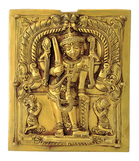 God Virabhadra Brass Wall Plaque 4482
