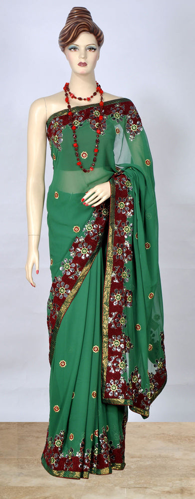Classy Green Color Saree With Embroidered Border