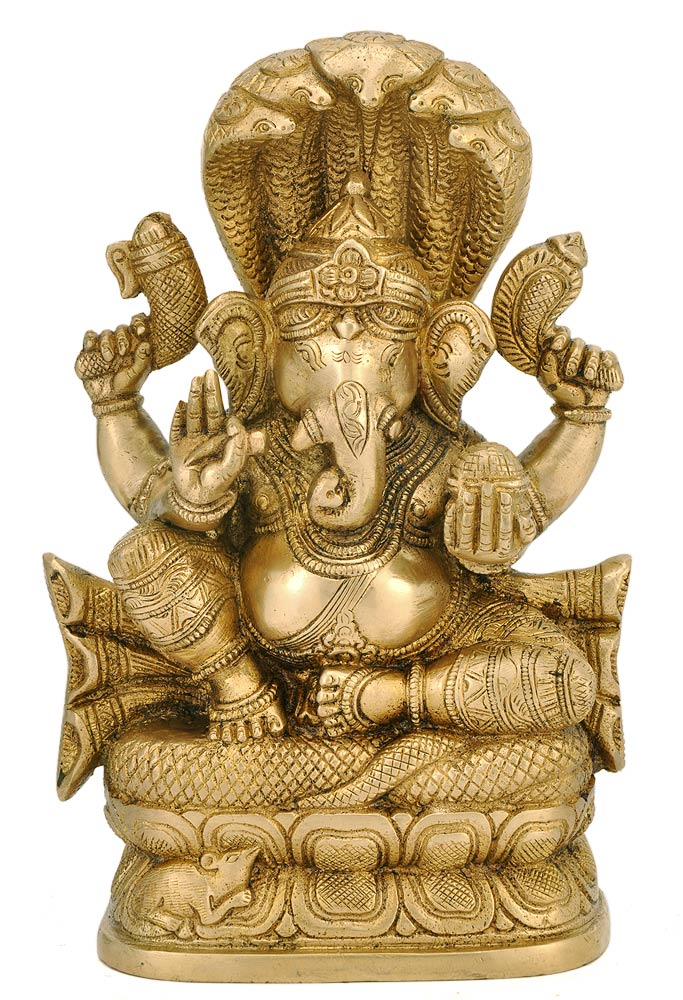 Brass Ganesha Seated on Sheshnag Statue