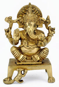 Lord Ganesha Seated on Chowki -Brass statue 4714