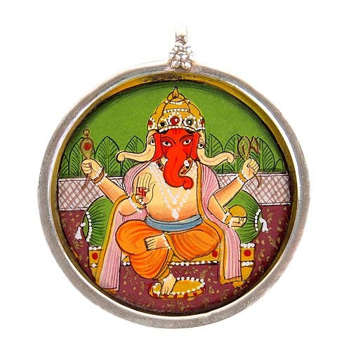 Three Headed Ganesha - Silver Pendant