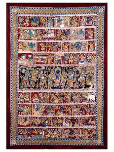 The Life of Sri Krishna - A Large Narrative Kalamkari Painting