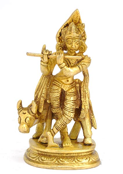 Small Gopal Krishna Playing Flute Brass Statue Hari Idol