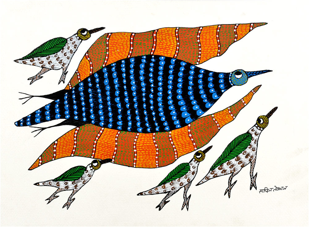 Mother and Her Baby Birds - Gond Panting