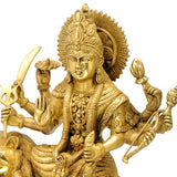 Eight Armed Goddess Durga Seated on Lion