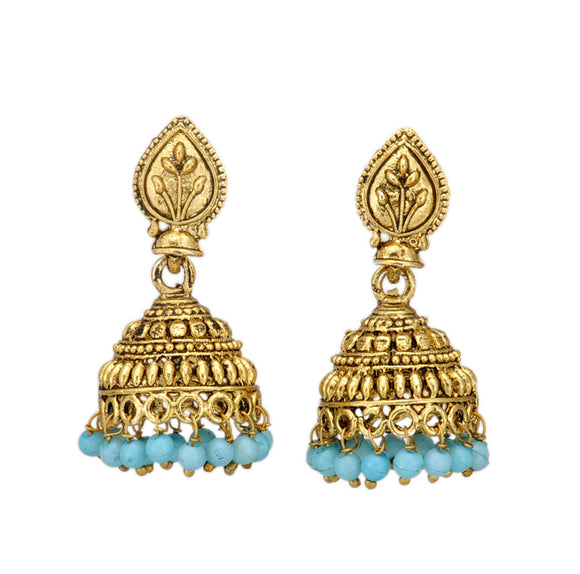 Shining Golden Jhumki Embellished with Pastel Blue Beads for Women