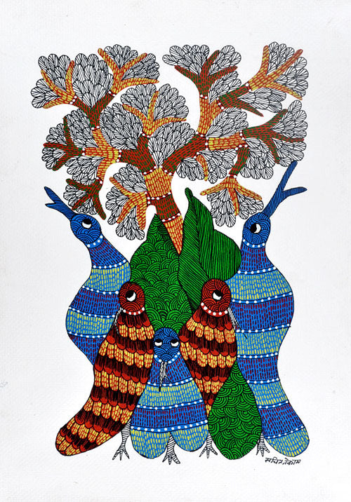 Bird Tree Gond Tribal Art Painting