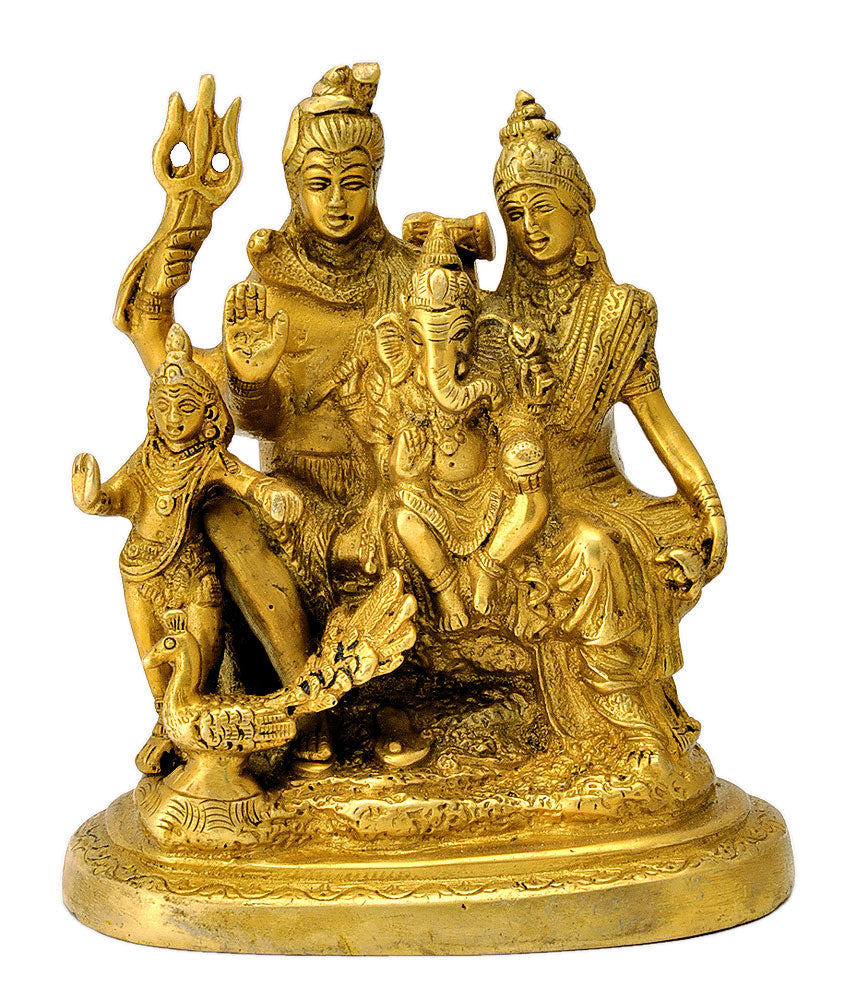 Lord Gauri- Shankar With Ganesha Brass Statue