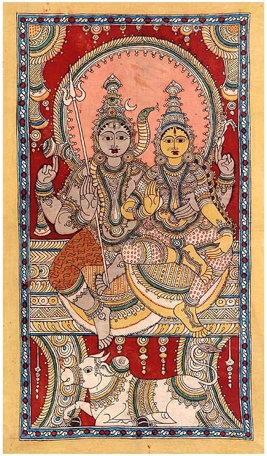The Divine Couple Shiva Parvati - Kalamkari Painting