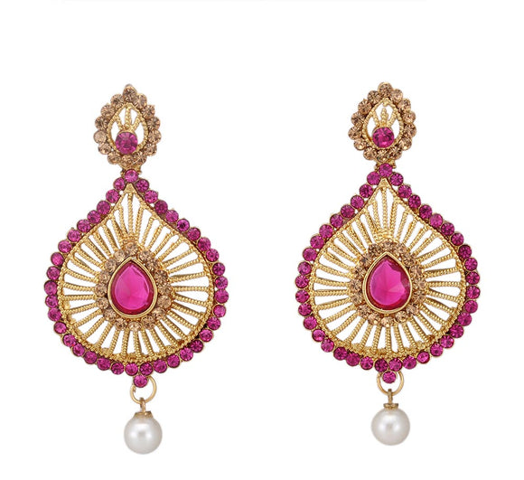 Magenta Stone Studded Dangle & Drop Earrings
