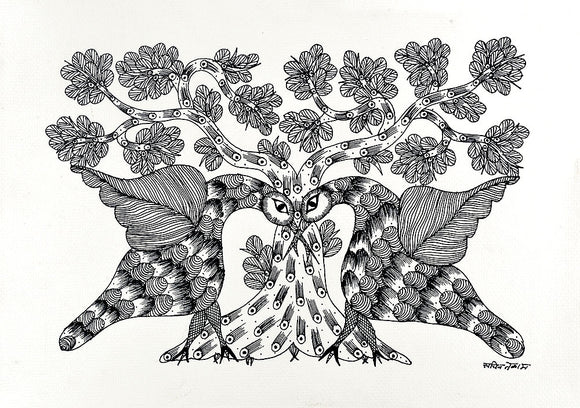 Folk Art Loving Birds Gond Panting
