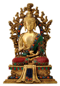 God Buddha Seated on Throne Brass Sulpture