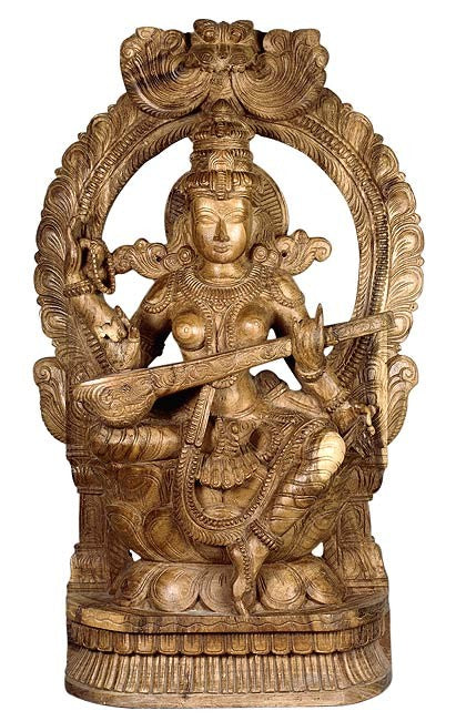 Goddess of Art & Knowledge - Wood Sculpture