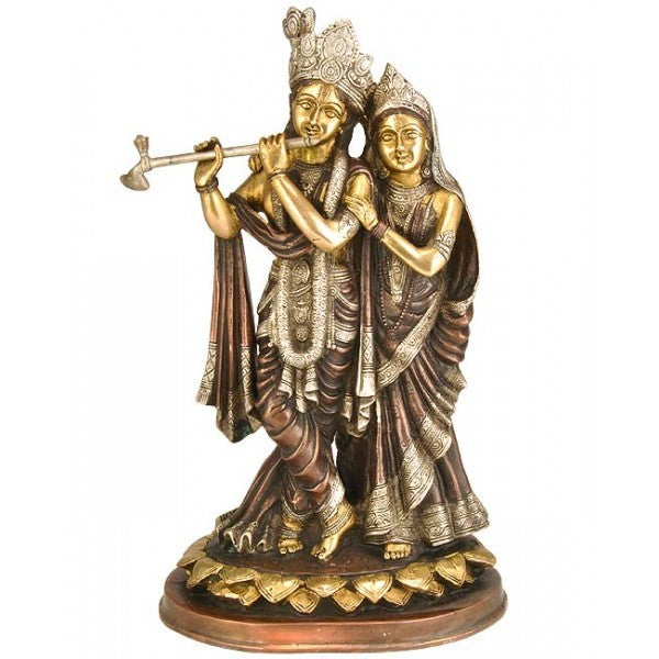 Radharani with Lord Krishna - Brass Sculpture