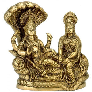 Lord Vishnu with Lakshmi Rest Upon Shesha Naag - Brass Statue