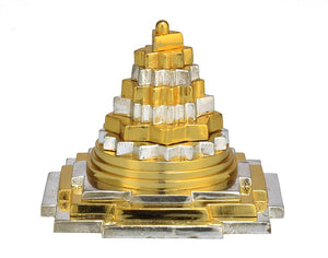 Auspicious Shree Yantra in Golden Silver Finish - Small