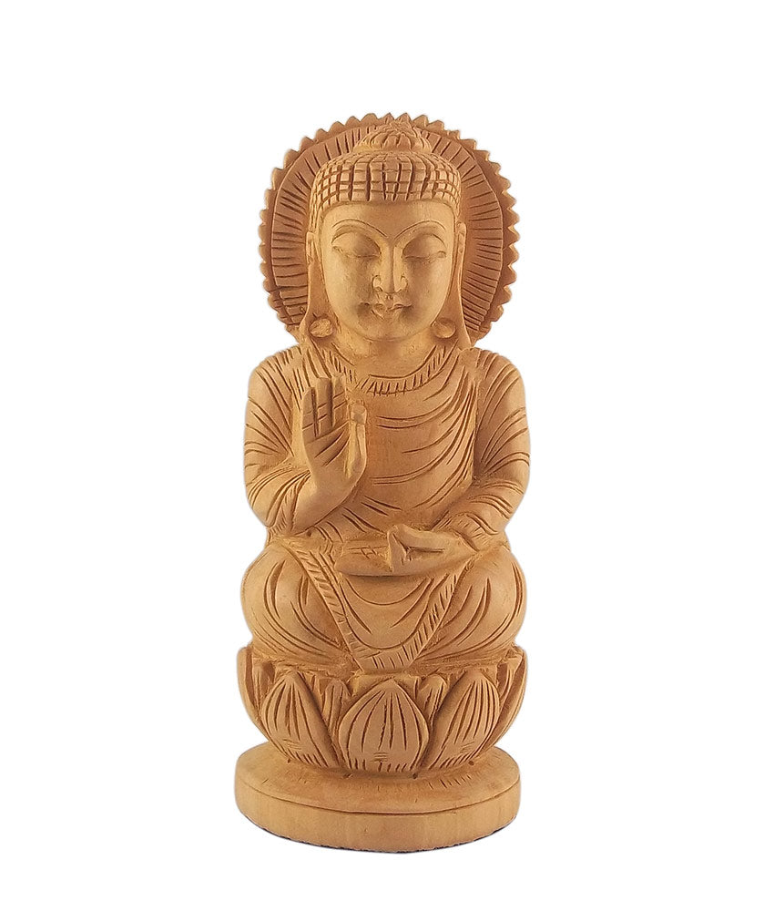 Lord Buddha Carved in Kadamb Wood Statue