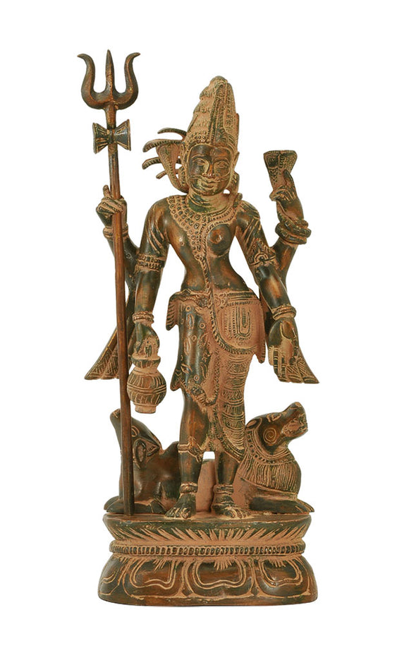'Ardhanarishwar' Combined Form of Lord Shiva and Devi Parvati Brass Statue