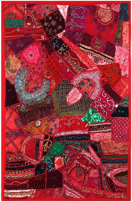 Folk Tapestry of Gujarat - Cascading Crimson