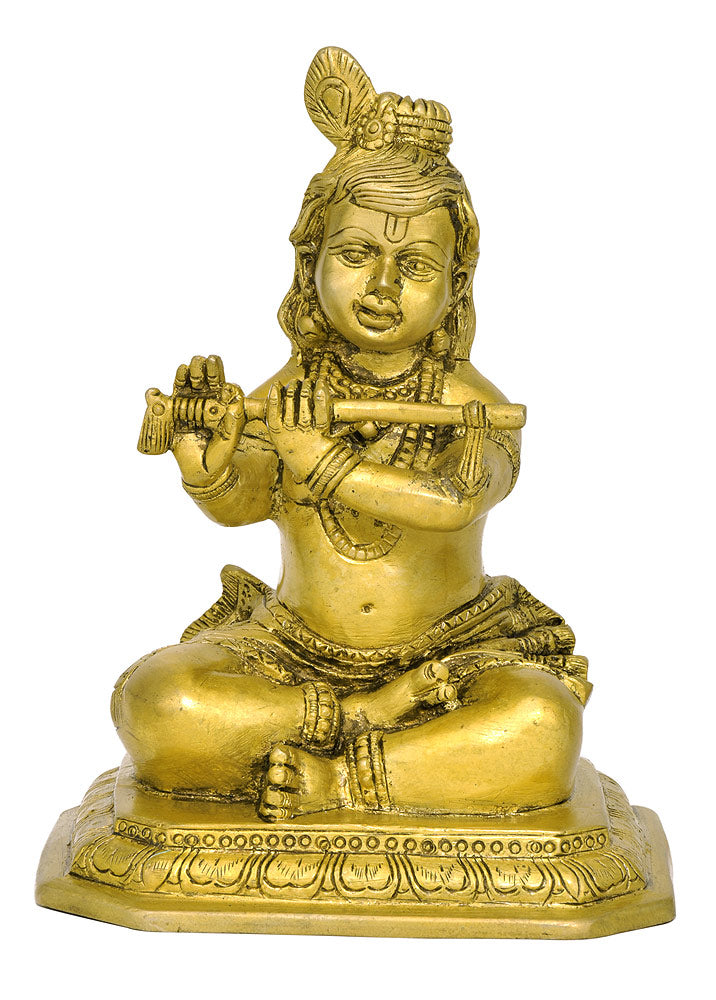 Baby Krishna Playing Flute - Brass Sculpture