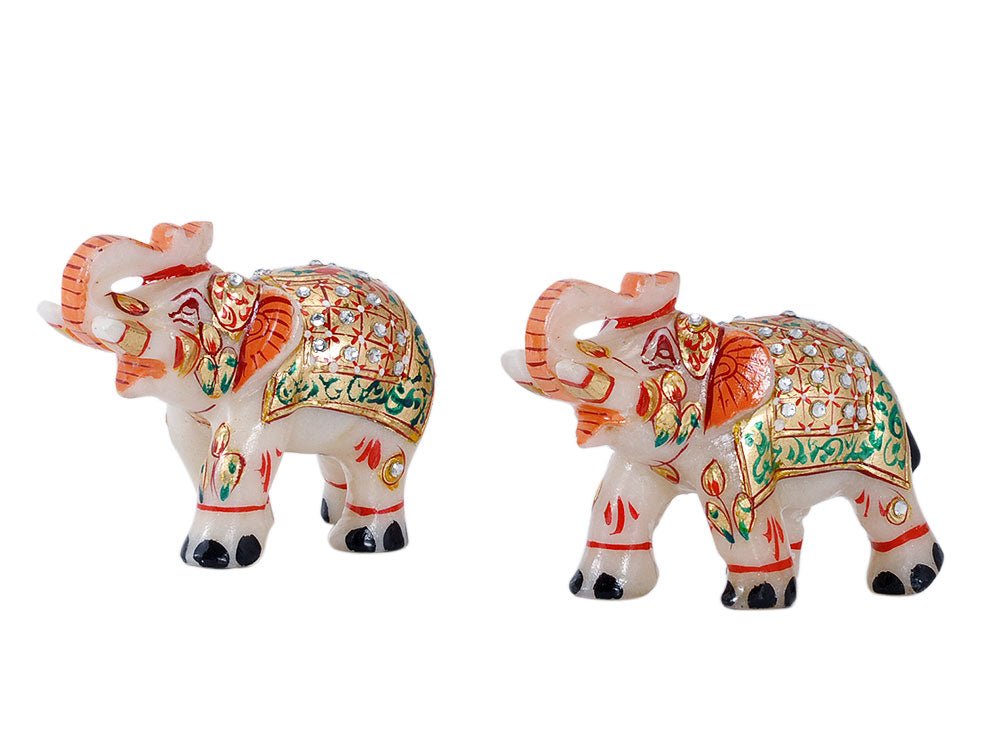 Royal Elephants - Handcarved Marble Statues