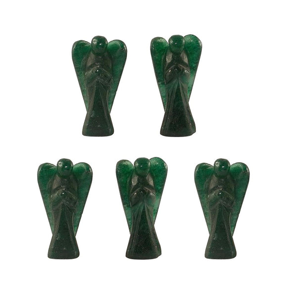 Angels Green Aventurine Hand Carved 5 Statues