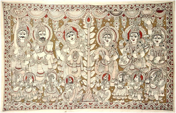 Vishnu and Laxmi Vivaha (Marriage) Kalamkari Painting