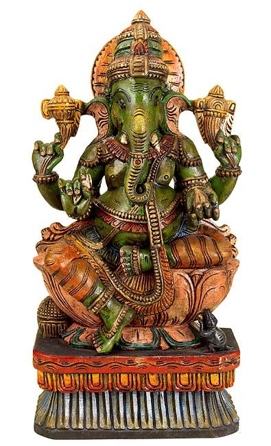 Blessing Ganesha - Wood Carving